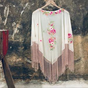 Sana vintage boho festival fringe nylon shawl